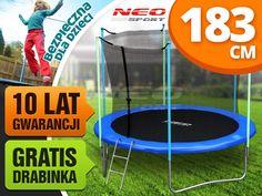 Trampolina ogrodowa 6ft/183cm z siatką wewnętrzną i drabinką Neo-Sport