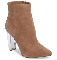 teddi crescent-heel bootie by Jessica Simpson. A lightly tapered crescent heel adds towering lift to a sumptuously textured bootie styled with a pointy toe and a fu...