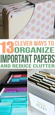 Office Desk Organization 101 – Quick Tips For Avoiding Office Desk Clutter 13 Ways to Organize and Get Rid of Paper Clutter Forever Organisation Hacks, Office Desk Organization, Clutter Organization, Project Life Organization, Organizing Solutions, Organized Office, Organized Kitchen, Office Nook, Office Workspace
