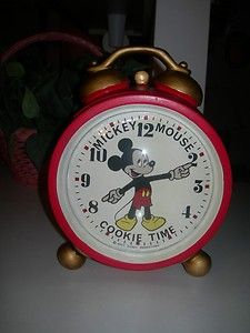"""Collectible Vintage """"Mickey Mouse Cookie Time"""" Clock Cookie Jar by Enesco"""