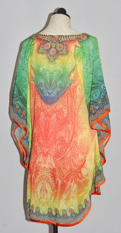Zambezi Caftan Style Top - embellished jeweled neckline (color: shades of blue, green, red, orange & yellow) (size: OSFM) [BACK]