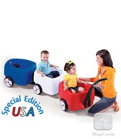 If I didn't already have the older version of this, I would totally buy this one. Love the red, white, and blue (also the fact that it celebrates the fact that their products are made in the USA). I could not have survived having toddler triplets without the Step 2 Choo Choo Wagon. LOVE.