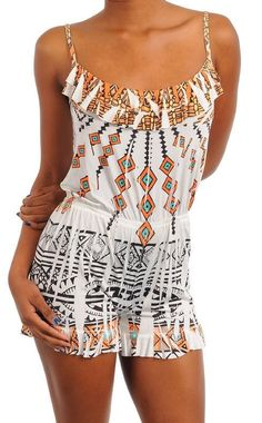 SEXY SUBLIMATION TRIBAL BEACH FESTIVAL INDIE BOHO PLAYSUIT JUMPER ROMPER NEW