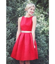 The most gorgeous red pleated brocade dress is the perfect christmas dress, holiday dress or really just whatever dress!