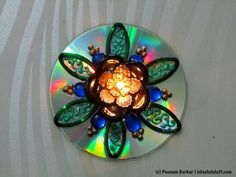 DIY - Recycle an old CD and broken bangles into a beautiful candle holde...
