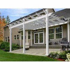 FT White Pergola Vinyl Outdoor Patio Garden Shed Plans Accessory Kit for sale online Pergola Ideas For Patio, Small Pergola, Modern Pergola, Pergola Canopy, Pergola Attached To House, Deck With Pergola, Cheap Pergola, Covered Pergola, Outdoor Pergola