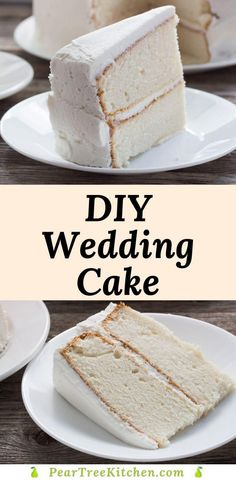 White Wedding Cake - Delicious white cake with white buttercream icing. Tastes like an old-fashioned white wedding cake. Perfect recipe for those who want to make their own cakes! #recipes White Wedding Cake Icing, Wedding Cake Frosting, Almond Wedding Cakes, Cake Frosting Recipe, Diy Wedding Cake, Frosting Recipes, White Icing Recipe For Cake, Fondant Recipes, Fondant Tips