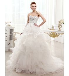 Court Train Ivory Ball Gown Strapless Ruffles Brides Wedding Dress with Sweetheart Neck  $130.00