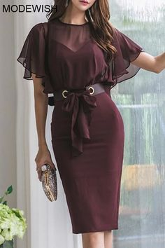 Patchwork Belted Falbala High Waist Bodycon Dress - This bodycon dress is perfect for a party, featuring belt, falbala and high waist, team with a pair - Bodycon Prom Dresses, Bodycon Dress With Sleeves, Bodycon Dress Parties, Homecoming Dresses, Dresses With Sleeves, Cute Dresses, Casual Dresses, Formal Dresses, Dresses Dresses