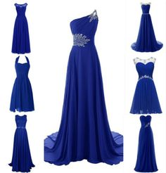 bc13b10fb6 Royal-Blue-Lace-Chiffon-Bridesmaid-Wedding-Evening-Plus-