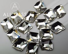 15pcs Clear Crystal Moonrock Large 16mm x 20mm Sew on by ALLURISS, $8.90 weddings, costume, burlesque embellishments
