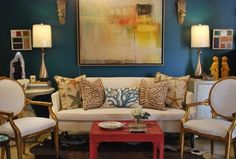 Mad for Galapagos Turquoise - eclectic - living room - other metro - Anna Baskin Lattimore Design
