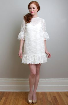 If I was still rocking the full on Mod girl look, I'd be all about this little number . 1960s Style Wedding Dresses, Mini Wedding Dresses, Wedding Dress Cake, Wedding Attire, Wedding Gowns, Wedding Bells, Las Vegas, Yorkshire Wedding Photographer, Silk Organza