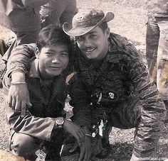 MACV-SOG - Special Mission Force member Clay Curtis with his Rhade Montagnard interpreter Peo. Peo was killed shortly after this photo was taken. circa 1972 - photo Clay Curtis ~ Vietnam War