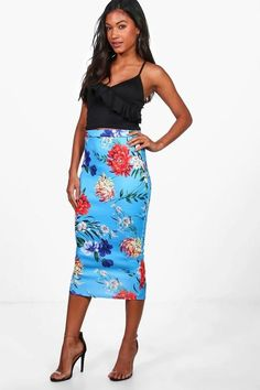 boohoo Gracie Tropical Floral Midi Skirt