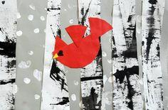 Cardinal Among the Birch Trees