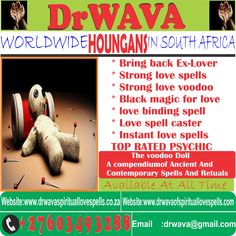 Voodoo Love Spells   Authentic Magic Spells in the World Voodoo Love Spells. Not only this article carries the ways to cast Voodoo love spells using hair but also contains other spells that work instantly. Voodoo love spells are very powerful and some of the most effective spells that are designed to help you and give you the desires of your heart. Love spells   Africa's Renowned Spiritualist   Spell Caster and Psychic Let me help you figure out your next steps during this rapidly changing Spiritual Love, Spiritual Healer, Spirituality, Love Spell That Work, My Love, Love Binding Spell, Black Magic For Love, Lost Love Spells, Love Spell Caster