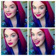 Bright hair and a beautiful face! #ManicPanic colors suggested: #HotHotPink gradually blending into #RockabillyBlue.