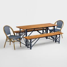 Inspired by the beer gardens of southern Germany, our dining table creates a casual outdoor oasis to gather with friends and family. It features a deep navy blue steel frame and a slatted acacia wood surface for bold contrast. And thanks to a collapsible design, it folds flat for convenient storage.
