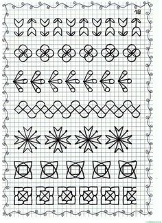 Ficha 18 Graph Paper Drawings, Alien Drawings, Graph Paper Art, Cross Stitch Borders, Cross Stitch Kits, Cross Stitch Patterns, Blackwork Patterns, Blackwork Embroidery, Bargello Quilts