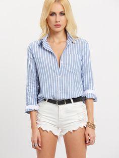 Shop Blue White Lapel Vertical Stripe Pocket Blouse online. SheIn offers Blue…
