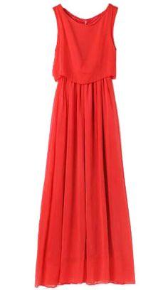 Vestido gasa plisado-Rojo EUR21.74