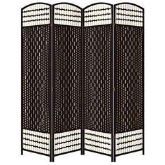 Rosenthal Espresso Paper Straw Weave 4-Panel Room Divider - #6J198 | Lamps Plus