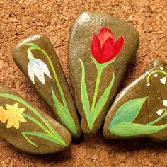Spring is on the way - rocks are blooming! #paintedstones #snowdrop #daffodil #tulip #lilyofthevalley