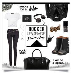 """Rocker chic"" by jemma-armitage on Polyvore featuring Maison Margiela, Thelermont Hupton, Givenchy, dVb Victoria Beckham, IRO, Anya Hindmarch, rag & bone, New Look, Christian Dior and Chan Luu"
