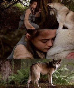 I love Arya. Arya Stark and Nymeria - Game of Thrones Arya Stark, Winter Is Here, Winter Is Coming, Khal Drogo, Jon Snow, Serie Got, The Walk Dead, Got Game Of Thrones, Book Series