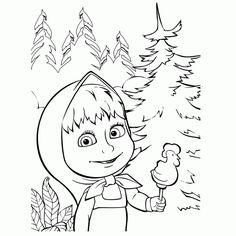 Masha and the Bear candy cartoon fish forest girl masha Kids Printable Coloring Pages, Bear Coloring Pages, Cartoon Coloring Pages, Coloring Pages To Print, Coloring Pages For Kids, Coloring Books, Bear Images, Bear Pictures, Pictures To Draw