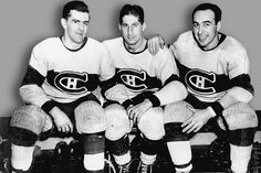 Habs linemates Maurice Richard, Elmer Lach and Toe Blake, otherwise known as the Punch Line. In the three finished first (Lach), second (Richard), and third (Blake) in scoring for the NHL. Montreal Canadiens, Mtl Canadiens, Men's Hockey, Ice Hockey Teams, Hockey Stuff, Hockey Games, Hockey Players, Tennis Players, Maurice Richard