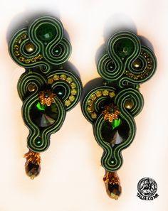 Soutache earrings in Green