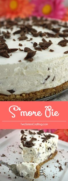 S'more Pie - a no-bake pie made that tastes just like a Smore. Graham crackers, marshmallows, cool whip and chocolate combine into one easy to make S'more dessert. Light and delicious, this summer dessert recipe is a family favorite. Pin this yummy pie recipe for later and follow us for more great No Bake Dessert Ideas.