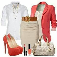 Beautiful pink, beige and white fashion style combination.