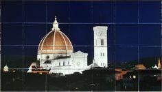 Kitchen back splash tiles with photo of Duomo. Custom printed on ceramic tile for a kitchen backsplash mural by custom-tiles.com