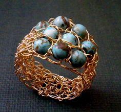Turquesa y oro anillo de ganchillo ganchillo anillo oro