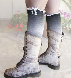 Boot Socks Trim Lace Buttons  over knee socks by Eastalace on Etsy, $24.50 Lace Boot Socks, Over Knee Socks, Knit Leg Warmers, Lace Button, Warm Socks, Combat Boots, Buttons, Lingerie, My Style