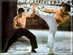 One of the greatest fight scenes ever filmed. Bruce Lee vs. Chuck Norris in Way of The Dragon (A.K.A. Return of The Dragon). This is an awesome screen capture or photo, gives me the chills looking at it :-) You can feel the power of both combatants. Good thing they were friends in real life, allowing them to really work off of each other's energy.