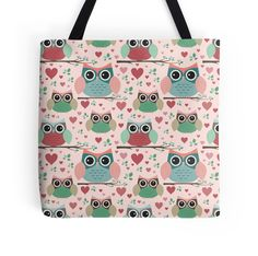 """""""Owls in Love Pattern"""" Tote Bags by noondaydesign 