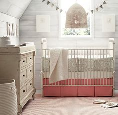 crocheted letters + iron baby crib