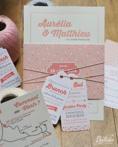 Création sur mesure mariage : faire-part Letterpress, bande de maintien et étiquettes