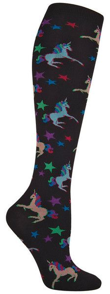Take flight with these soaring unicorns. Knee high socks with colorful unicorns in jade or black backgrounds. Fits women's shoe size 5-10.