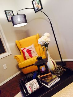 My reading corner  #yellowaccent chair #coffeetabletray