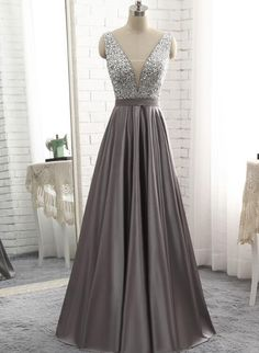 Simple Gray Satin V Neck Long Sequined Evening Dress, Formal Dress ,prom dress - 2020 New Prom Dresses Fashion - Fashion Of The Year Junior Prom Dresses, Prom Dresses 2018, Grad Dresses, Formal Evening Dresses, Evening Gowns, Dress Formal, Pagent Dresses, Prom Outfits, Evening Dresses For Weddings