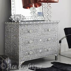 Indian Furniture|Bone Inlay Furniture|Wrought Iron: Mother of Pearl Inlay Chest of Drawer/Dresser