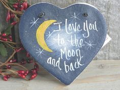 Moon and Back Salt Dough Ornament! This is a handcrafted salt dough heart ornament for someone special! Hand painted by me, all lettering is also done by hand. Ornament is sealed with a coat of varnis