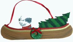 """Dogs on The Move"" Canoe Dog Wood 3-D Hand Painted Ornament - Old English Sheepdog"