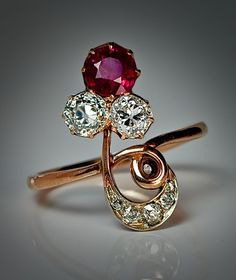 Art Nouveau Russian Ruby and Diamond Engagement Ring - made in Moscow between 1988 and 1908
