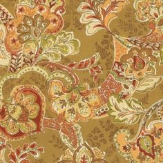 Tuscan Vine EasyCare Fabric by the Yard - Casual garden of florals of terracotta, sand, sage, brown and cream - perfect for an Afternoon in the Tuscan Sun. Ballard Designs